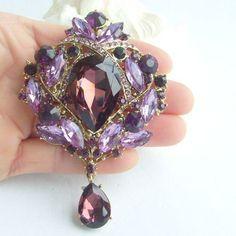 Pretty Drip Flower Brooch Pin w Purple Rhinestone Crystals EE04082C7 | eBay
