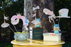 10 Vintage Pastel embellished Alice in Wonderland / Mad Hatter Photo Booth Props for a tea party, birthday or wedding on Etsy, $39.00
