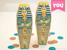 Egyptian Sarcophagus Favor Box : DIY Printable Pharaoh Mummy Box PDF - Instant Download