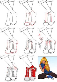 A step by step tutorial on how to draw sneakers.