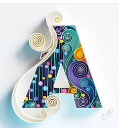 A Quilling wall paper art Custom paper art Letter A Paper Quilling For Beginners, Paper Quilling Tutorial, Paper Quilling Flowers, Paper Quilling Patterns, Quilled Paper Art, Quilling Paper Craft, Quilling Techniques, Paper Crafts, Quilled Roses