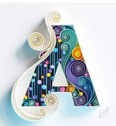 A Quilling wall paper art Custom paper art Letter A Quilling Letters, Paper Quilling Flowers, Paper Quilling Patterns, Quilled Paper Art, Quilling Paper Craft, Paper Crafts, Paper Letters, Quilled Roses, Quilling Comb