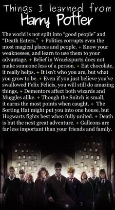 """What J.K Rowling taught me. This is so true. I like """"chocolate makes you feel better."""""""