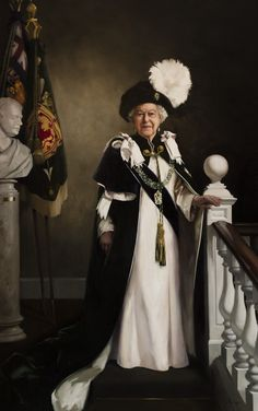 New portrait of Her Majesty The Queen in the robes of The Order of the Thistle by Nicola Jane (Nicky) Philipps, commissioned by The Queen's Body Guard, Royal Company of Archers. Photo Credit: ©Nicky Philipps and The Royal Company of Archers