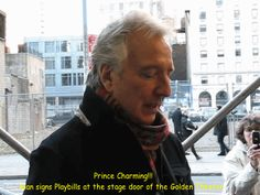 "2011 or 2012 -- Alan Rickman signing Playbills at the stage door of The Golden Theater where he was performing in the play ""Seminar."""