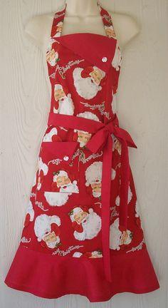 Christmas Apron Happy Santa Santa Claus Retro by KitschNStyle Christmas Aprons, Christmas Sewing, Retro Christmas, Santa Christmas, Christmas Ideas, Retro Apron, Aprons Vintage, Jean Apron, Baking Apron
