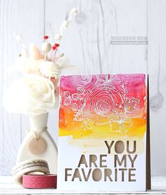 Yoonsun created this adorable mother's day card using SSS Sketch Ranunculus & Wild Beauty stamp sets and You Are My Favorite die. https://simonsaysstamp.com/category/Shop-Simon-Releases-My-Favorite