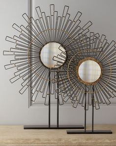 "Two ""Geometry"" Sunburst Mirrors by John-Richard Collection at Horchow."