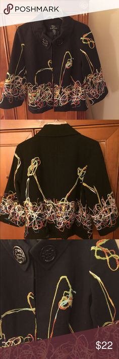 """🍁Host Pick!🍁 Multi-color String Jacket This adorable jacket brings color to your wardrobe!! It has 6 heavy duty eye hooks to close, 2 glossy buttons and a yarn design from front to back. Strings do come off; I leave them alone but cutting them off or gluing are possible fixes. Dry clean. PL. 22"""" long Trenz  Jackets & Coats Blazers"""