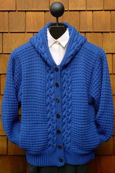 Men's hand knit hooded cardigan 39A