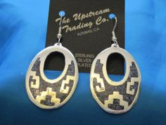 Hand Crafted Taxco, Mexico Abalone Oval Aztec Design Earrings