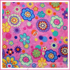BonEful Fabric Cotton Quilt Rainbow Bright Pink Purple GIRL Flower DOT Big SCRAP #SpringsCreativeProducts