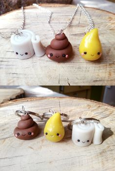 Poop paper and pee friendship keychains by ClayCreationsForEver