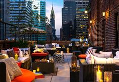 New York --- Rooftop Bars to check out: Haven Rooftop at the Sanctuary Hotel 132 W. St (and ave) Gallow Green at the McKittrick Hotel 530 W. and ave) Renaissance New York Hotel 57 - 130 East St. at Lexington New York Restaurants, New York Hotels, New York Rooftop, Rooftop Terrace, Rooftop Lounge, Terrace Hotel, Haven Rooftop, New York City, Hotel Boutique