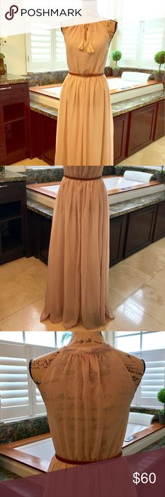 Chiffon Maxi Dress This beautiful nude color gown is perfect for any vacation or get together! Light and elegant. Can be dressed up with heels and belt as shown or worn with flip flops. Belt not included, shown for styling only. The back of the dress is sheer as shown in the photo. Size small and is tts. Open to reasonable offers. Reasonable is not half of asking price. Dresses Maxi