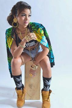 Baby Girl Crop Top Denim Shorts Weed Symbol Socks Timberlands Jnelv Jaennelle Vergonio Urban Streetwear Fashion Dope Style Trend Swag