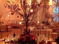 fall tree centerpieces with red orchids