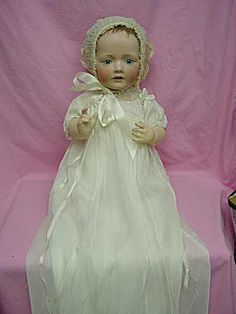 Antique baby doll in baptismal gown and hat Hilda baby
