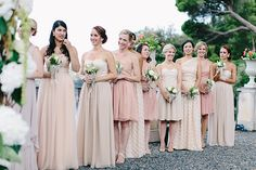 bridesmaids in different shades of blush...love!