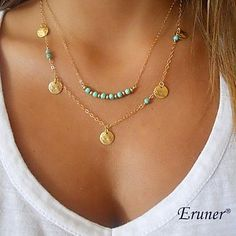 2017 New Gold Multilayer Hammer Chain Bar Necklace Long Strip Pendant Necklace Collar joyeria collier Femme Colares mujer Bijoux - TakoFashion - Women's Clothing & Fashion online shop Coin Necklace, Necklace Types, Collar Necklace, Beaded Necklace, Pendant Necklace, Jewelry Necklaces, Bohemian Necklace, Charm Jewelry, Dainty Necklace