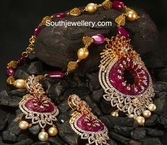 ruby_diamond_pendant_set