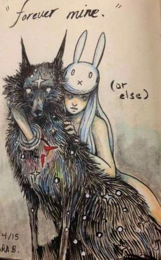 chiara bautista, The Cosmic Wolf and the Bunny Girl Chiara Bautista, Dessin Old School, Art Moderne, Art Design, Art Plastique, Dark Art, Amazing Art, Awesome, Art Reference