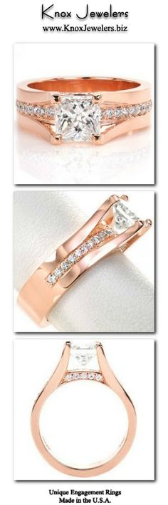 This cathedral style engagement ring is a regal custom design. The 1.25 ct princess cut center engineered diamond is set high enough so a row of bead set round engineered diamonds can go completely under the center stone. More small moissanite diamonds adorn the sides of the band between the prongs for added effect. This ring is shown in 14k rose gold. For more information about this custom ring, click on pin.#engagement #wedding #ring