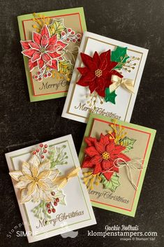 Check out these 4 Poinsettia cards you'll rave about. Easy to make Christmas cards some casual, some elegant and all beautiful. I've got a video tutorial for you at www.klompenstampers.com #poinsettiacards #poinsettiacraft #christmaspapercrafts #cardmakingtutorials #christmascardshandmade #jackiebolhuis #klompenstampers