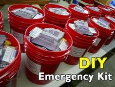 Survival Zombie Apocalypse: ~ Build Your Own Bucket Emergency Kit. Everyone should have one of these emergency buckets packed and ready to go. If you only ever do one thing for emergency preparedness, put together one of these kits. Homestead Survival, Survival Prepping, Survival Skills, Survival Gear, Survival Hacks, Survival Quotes, Survival Items, Survival Stuff, Survival Equipment