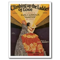 Climbing Up The Ladder of Love Vintage Song Art Postcard #SongSheet #Postcards #Gifts