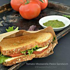 Tomato Mozzarella Pesto Sandwich - #shwetainthekitchen #itspotluck #sandwich