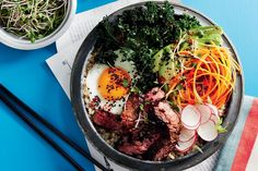 Food editor Warren Mendes created this Cali-style bibimbap using barley instead of rice and his new favourite superfood – kale.