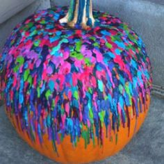 My Halloween pumpkin decorated with melted crayons!!