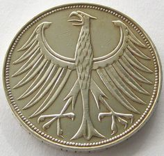 Germany, Silver Coin, 5 Mark 1960 F, TOP High Grade !