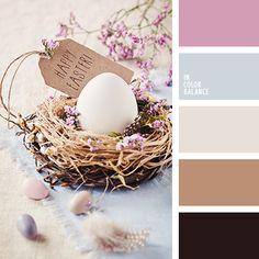 """""""пыльный"""" розовый, бежевый, коричневый, лавандовый, нежный розовый, оттенки коричневого, палитра цветов для декора стола в праздник Пасхи, розовый, серый, цвет лаванды, цвет старой бумаги, цветовое сочетание для праздника Пасхи."""