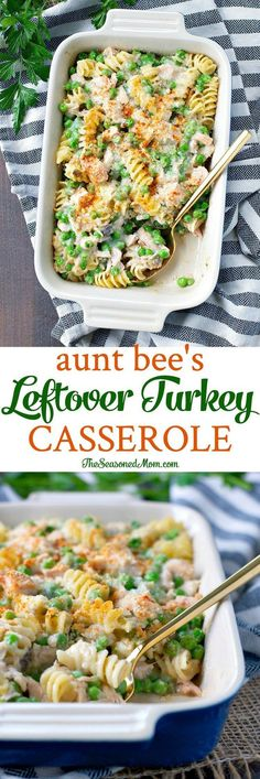 Aunt Bee\\\'s Leftover Turkey Casserole is an easy dinner that comes together in just 15 minutes -- making it the perfect way to enjoy Thanksgiving extras!