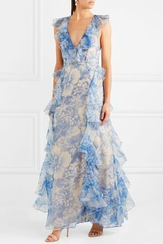 Alice McCall | Oh My Goddess open-back ruffled floral-print silk-organza gown | NET-A-PORTER.COM