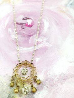 """""""Whisper from the Divine"""" - Delicate antique brass filigree pendant paired with vintage rhinestone beads and pyrite chain"""