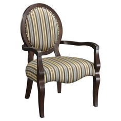 Wood Louis-style chair with brown and green striped upholstery. Product: Chair Construction Material: Wood and fabric Color: Brown and green Features: Will enhance any decor Dimensions: H x W x D Wood Arm Chair, Fabric Armchairs, Accent Furniture, Funky Furniture, Classic Furniture, Furniture Design, Joss And Main, Side Chairs, Outdoor Chairs