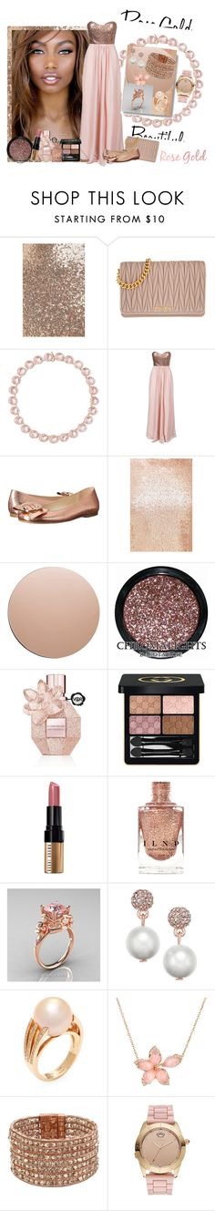 """Rose Gold Jewelry"" by sheri-gifford-pauline ❤ liked on Polyvore featuring LULUS, Miu Miu, Larkspur & Hawk, NLY Eve, Frances Valentine, House Doctor, Viktor & Rolf, Gucci, Bobbi Brown Cosmetics and Modern Vintage"