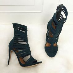 Multi Strap Caged Ankle High Heels. Thigh High Boots ... e13499869449