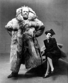 The polar explorer Peter Freuchen with his partner, 1947.