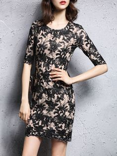 Floral Sexy Bodycon 3/4 Sleeve Polyester Mini Dress