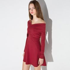 ffa064b850 Burgundy fit and flare wrap off the shoulder dres with skinny long sleeves.  ourdress.shop · Mini Dress