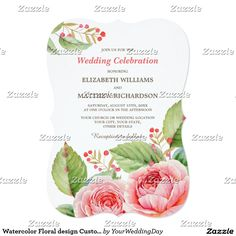 Romantic Watercolor Floral Painting Design Personalized Wedding Invitations. Customize the names, date , text and all details of your Invitations. Matching Bridal Shower Invitations, Save the Date Cards, Wedding Postage Stamps, Bridesmaid to be Request Cards, Thank You Cards and other Wedding Stationery and Wedding Favors and Gifts available in the Floral Design Category of the youweddingday store at zazzle.com