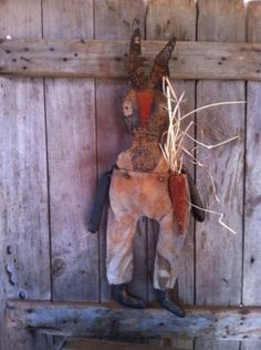 """Primitive Folk Art Extreme Easter Bunny Rabbit Doll with Carrot 23"""" tall Grungy #NaivePrimitive"""