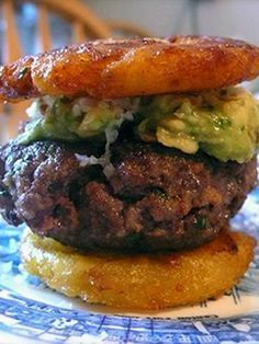 Plantain Burger (this burger uses plantain slices instead of bread - lower calories).