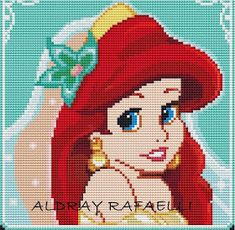 Little mermaid cross stitch chart Mermaid Cross Stitch, Beaded Cross Stitch, Cross Stitch Baby, Bead Loom Patterns, Perler Patterns, Beading Patterns, Crochet Disney, Disney Stitch, Modele Pixel Art