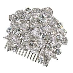 Viola Flower Comb - in Swarovski Crystal - Bridal Jewellery - Crystal Bridal Accessories