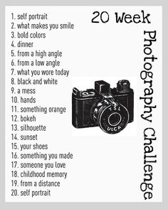 20 Week Photography Challenge....I think I'll do this! :o) http://www.astepinthejourney.com/search?updated-max=2011-07-22T08:25:00-04:00&max-results;=3
